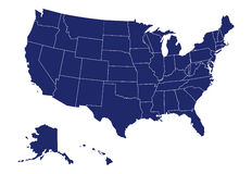 Vector map of usa Royalty Free Stock Images