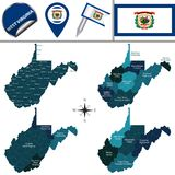 Map of West Virginia with Regions Royalty Free Stock Images