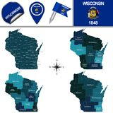 Map of Wisconsin with Regions Stock Photo