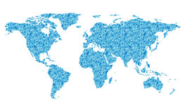 Vector map of the world with blue squares Royalty Free Stock Image
