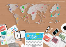 Vector map of the world of business travel, communication, trading, marketing and office object flat design Royalty Free Stock Photography