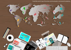 Vector map of the world of business travel, communication, trading, marketing and office object flat design Royalty Free Stock Images