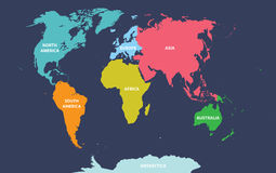 Vector map of the world colored by continents. On deep blue background Stock Photos