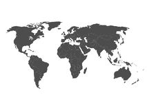 Vector map of world in grey with white borders Stock Photography