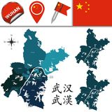Map of Wuhan with divisions. Vector map of Wuhan with named divisions and travel icons. There are chinese characters in a set - it means Wuhan Royalty Free Stock Photo