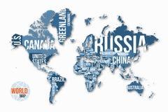 Vector mapa do mundo detalhado com beiras e nomes de país Foto de Stock