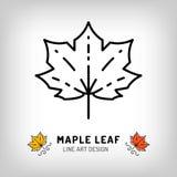 Vector maple leaf icon Autumn leaves Canada symbol. Line design. Vector maple leaf icon Autumn leaves Canada symbol. Thin line art design, outline illustration Stock Photos