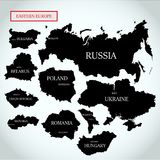 Vector maps of Eastern Europe with capitals. On a light gray background Stock Images
