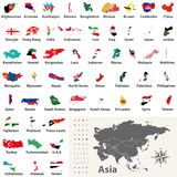 Vector maps and flags of all asian countries arranged in alphabetical order Royalty Free Stock Photos