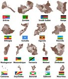 Vector maps and flags of Eastern Africa countries with administrative divisions regions borders. Vector maps and flags of Eastern Africa countries with Stock Photos