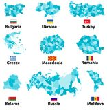 Vector maps and flags of Europe countries with administrative divisions regions borders Royalty Free Stock Photography