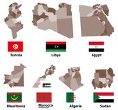 Vector maps and flags of Northern Africa countries with administrative divisions regions borders Royalty Free Stock Photo