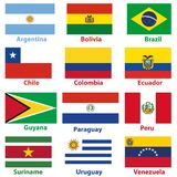 Vector maps and flags of South American countries. Vector maps and flags of South American continrnt countries Stock Photo