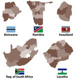 Vector maps and flags of Southern Africa countries with administrative divisions regions borders. Vector maps and flags of Southern Africa countries with Royalty Free Stock Photos