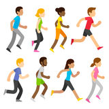 Vector marathon runners. Group of diverse marathon runners in modern flat cartoon style. Sports race vector people illustration set Royalty Free Stock Images
