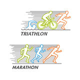 Vector marathon and triathlon logo Royalty Free Stock Images