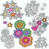 Vector maravilloso de los elementos del diseño del Doodle del cuaderno stock de ilustración