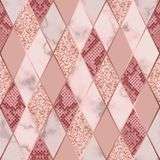 Marble Luxury and Snakeskin Geometric Seamless Pattern. Vector marble seamless pattern with golden geometric diagonal lines. Gold glitter, white and pink rhombus vector illustration