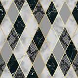 Marble and Snakeskin Luxury Geometric Seamless Pattern. Vector marble and snakeskin seamless pattern with golden geometric diagonal lines. Black, white and grey vector illustration