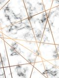 Vector marble texture design with golden geometric lines, black and white marbling surface, modern luxurious background stock illustration