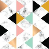 Vector marble texture design with golden geometric shapes, black and white marbling surface, modern luxurious background. Vector illustration royalty free illustration