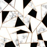 Vector Marble Texture Design With Golden Geometric Lines, Black And White Marbling Surface, Modern Luxurious Background Stock Photo