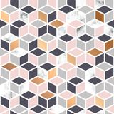 Vector marble texture, seamless pattern design with cube geometric pattern, black and white marbling surface Royalty Free Stock Photo