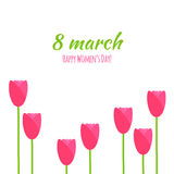Vector 8 march greeting card in simple flat style Royalty Free Stock Photos