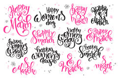 Vector 8 march hand lettering greetings text set, written in various styles with doodle flowers and bubbles Stock Photos