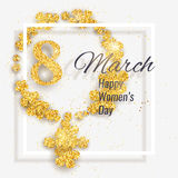 Vector 8 March Happy International Women`s Day greeting card. With female gender symbol made with sparkling gold glitter flowers royalty free illustration