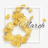 Vector 8 March Happy International Women`s Day greeting card. With figure eight made with sparkling gold glitter flowers stock illustration
