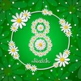 Vector 8 march international womens day green greeting card with chamomiles. 8 march international womens day green greeting card with chamomiles and hand stock illustration