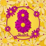 Vector 8 march international womens day yellow greeting card with pink flowers. 8 march international womens day yellow greeting card with pink flowers and hand Royalty Free Stock Photos