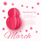 Vector March 8 invitation card. Happy International Womens Day background Stock Images