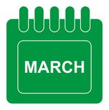 Vector March On Monthly Calendar Green Icon Royalty Free Stock Images