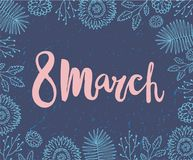 Vector 8 march, women s day card. Brushpen lettering with hand drawn doodle. Flowers Stock Photography