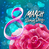 Vector 8 march womens day. pink red rose background. Art Stock Photo