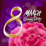 Vector 8 march womens day. pink red rose background. Art Stock Image
