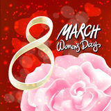 Vector 8 march womens day. pink red rose background. Art Royalty Free Stock Image