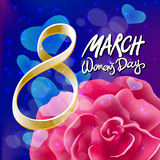 Vector 8 march womens day. pink red rose background. Art Stock Photography