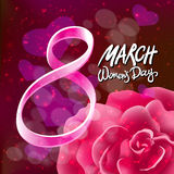 Vector 8 march womens day. pink red rose background. Art Stock Images