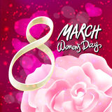 Vector 8 march womens day. pink red rose background. Art Royalty Free Stock Photos