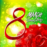 Vector 8 march womens day. red rose background. Art Stock Photos