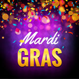 Vector mardi gras carnival greeting card. Purple festive illustration. Fun holiday party poster of mardi gras.  Stock Photo