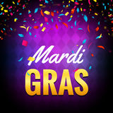 Vector mardi gras carnival greeting card. Purple festive illustration. Fun holiday party poster of mardi gras.  Stock Photography
