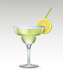 Vector Margarita cocktail. With tequila, triple sec, fresh lime, salt rim and green straw tube on background royalty free illustration