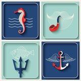 Vector mariene themapictogrammen Royalty-vrije Stock Afbeelding