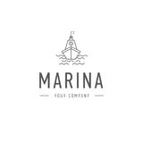 Vector marina, steering wheel logo template, abstract business icon. Ship and waves. Steamboat. Sailboat. Fishing. Royalty Free Stock Photos