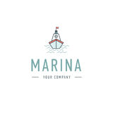Vector marina, steering wheel logo template, abstract business icon. Ship and waves. Steamboat. Sailboat. Fishing. Vector marina, steering wheel logo template Royalty Free Stock Photo