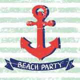 Vector marine background. Red hand drawn anchor, ribbon, letters Royalty Free Stock Photo